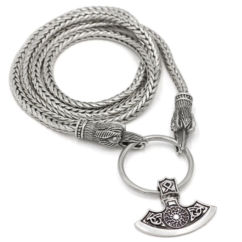 mammen sekira dp plated viking chain pendant rolo black nordic large necklace axe