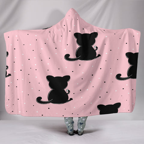 Customised Hoodie Blanket Pink Cats