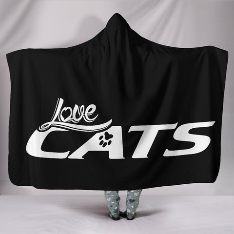 Love Cats Hooded Blanket