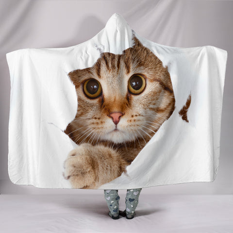 Hiding Cat Hooded Blanket