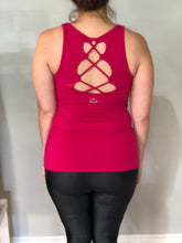 Beyond Yoga - Open Racerback Criss-Cross Tank, wildberry