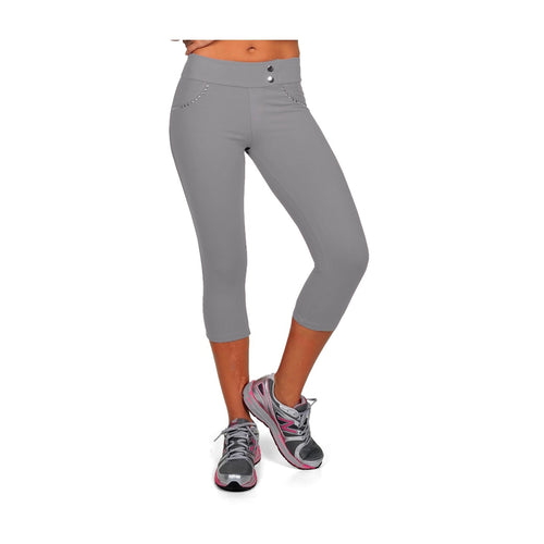 Bia Brazil, Grey Capri leggings w/ Stud pockets