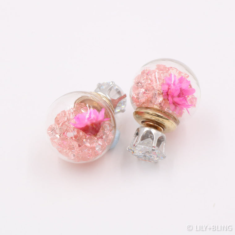 Fuchsia Garden Glass Ball Earrings