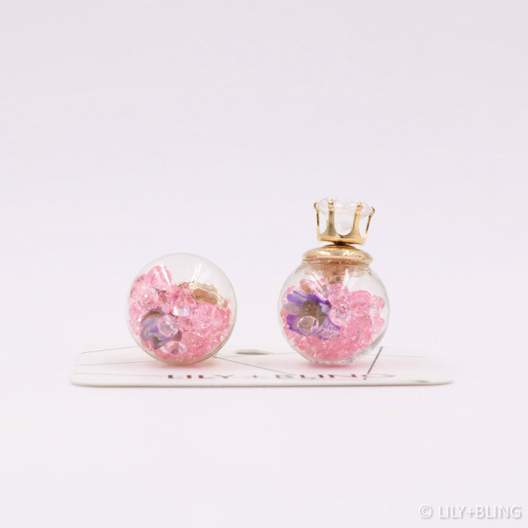 Purple Garden Glass Ball Earrings