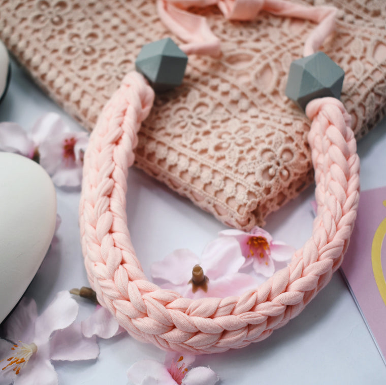 Made-To-Order: Florence Braided Handmade Yarn Necklace in Basic Pink
