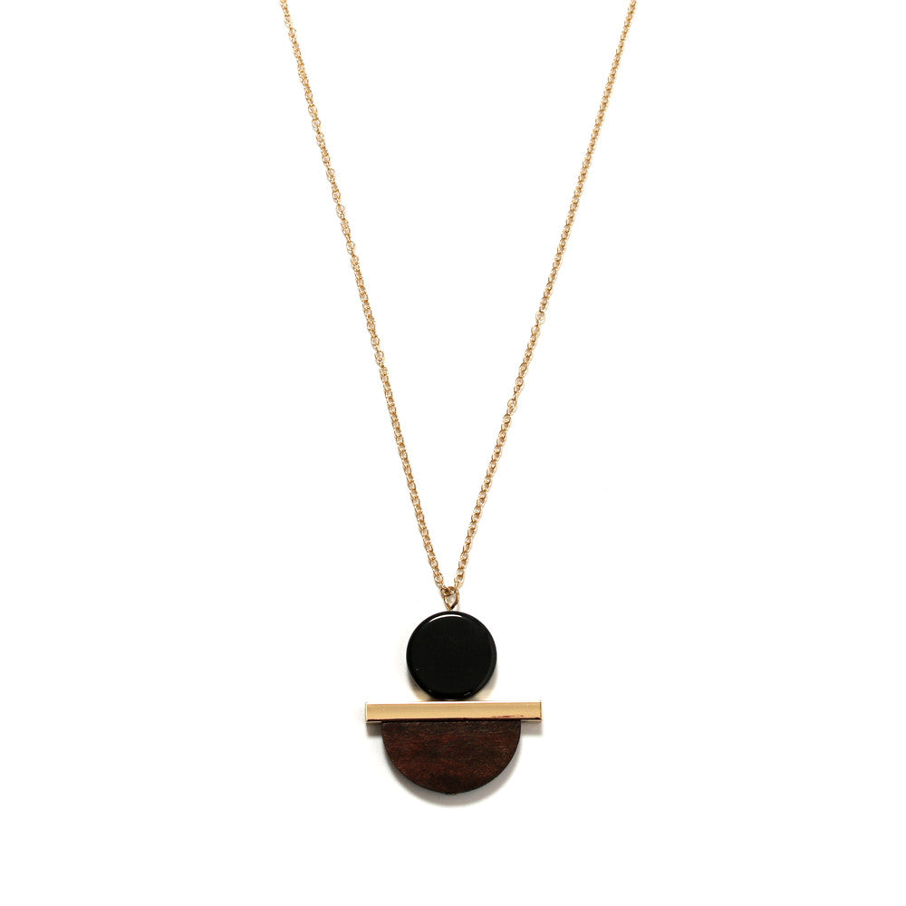 Lori Geometric Necklace III in Wood, Black and Gold