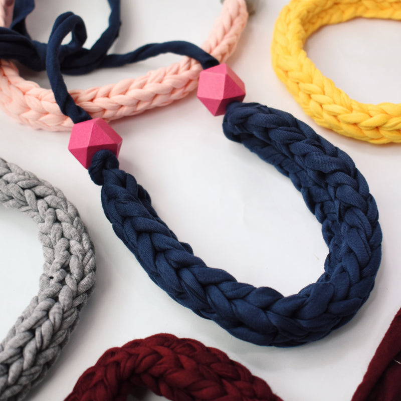 Made-To-Order: Florence Braided Handmade Yarn Necklace in Navy Blue