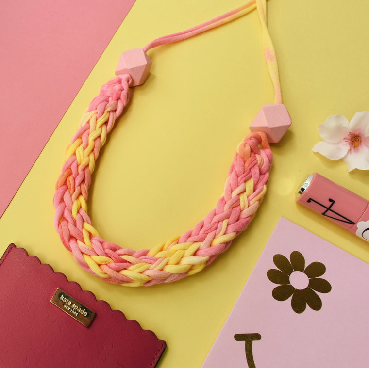 Made-To-Order: Florence Braided Handmade Yarn Necklace in Bit of Yellow