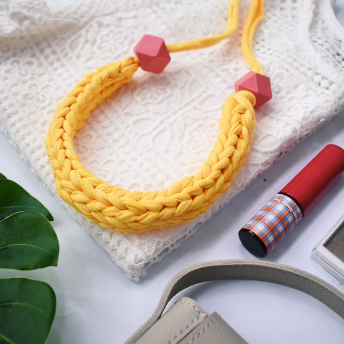 Made-To-Order: Florence Braided Handmade Yarn Necklace in Summer Yellow