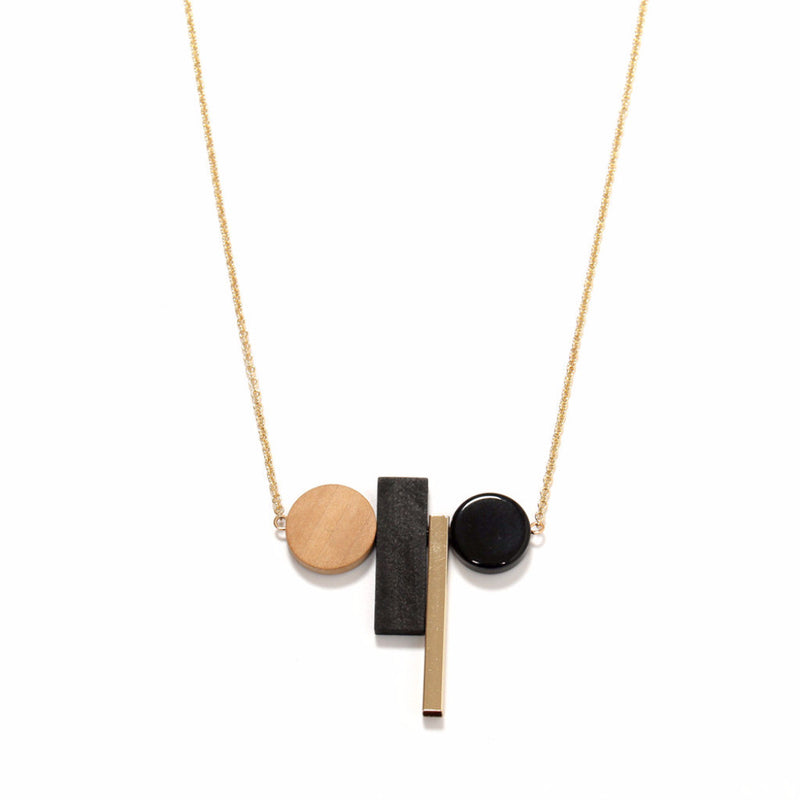 Lori Geometric Black,Wood & Gold Necklace