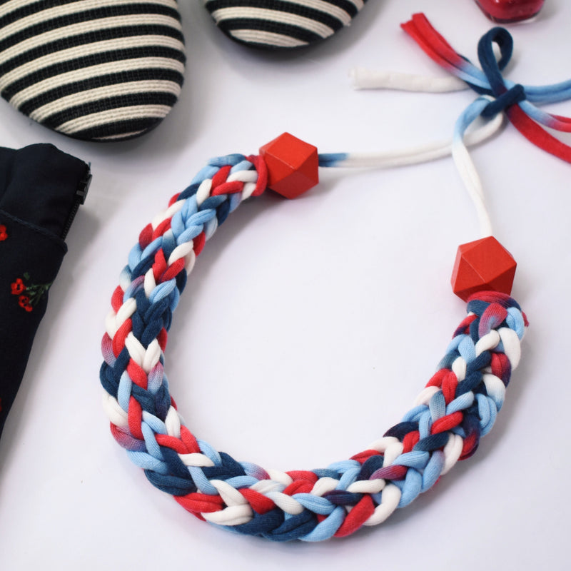 Made-To-Order: Florence Braided Handmade Yarn Necklace in See Me Red