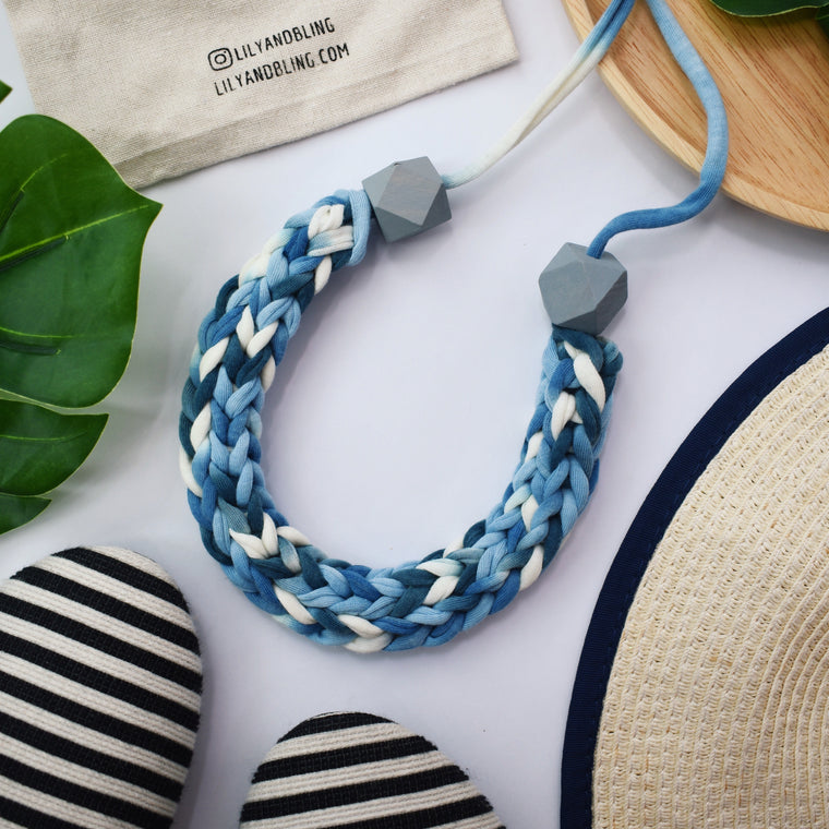 Made-To-Order: Florence Braided Handmade Yarn Necklace in Too Blue