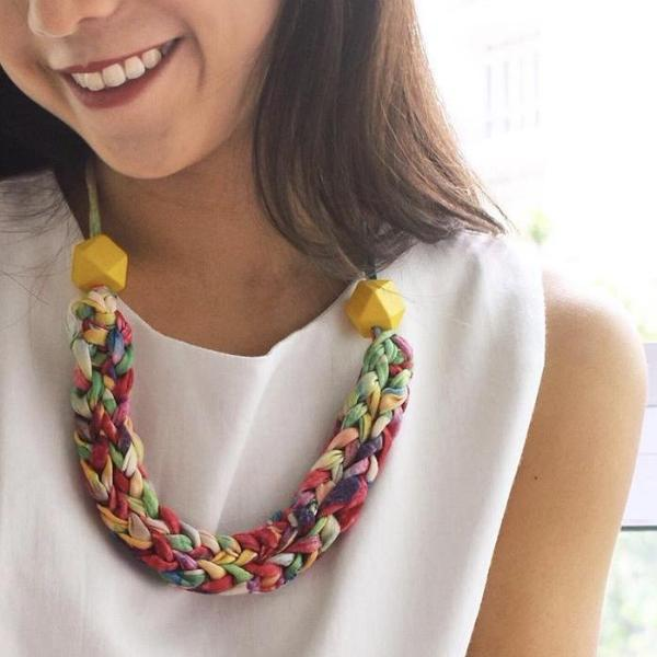 Made-To-Order: Florence Braided Handmade Yarn Necklace in Mellow Yellow