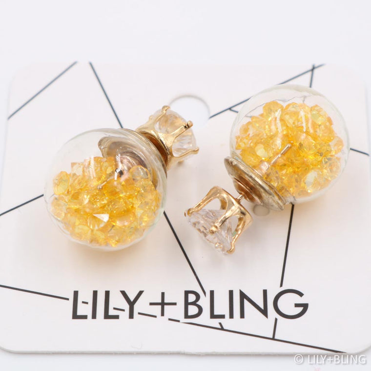 Hello Yellow Glass Ball Earrings