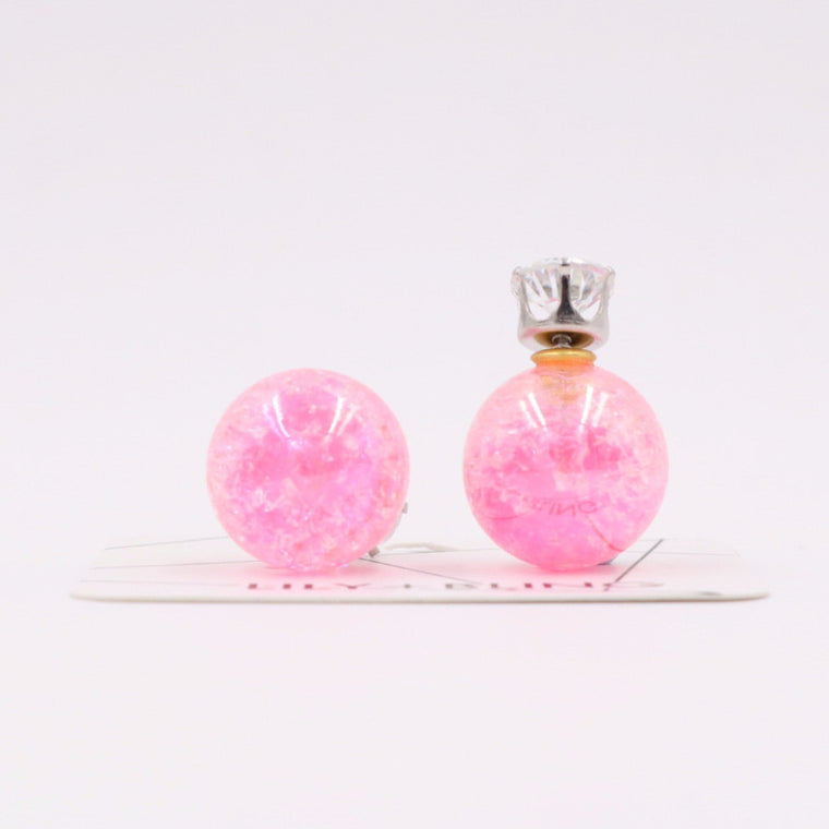 Pink Blink Glass Ball Earrings