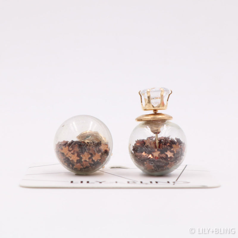 Coffee Stars Glass Ball Earrings