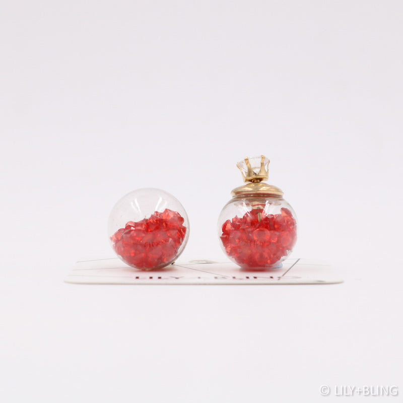 Very Red Glass Ball Earrings