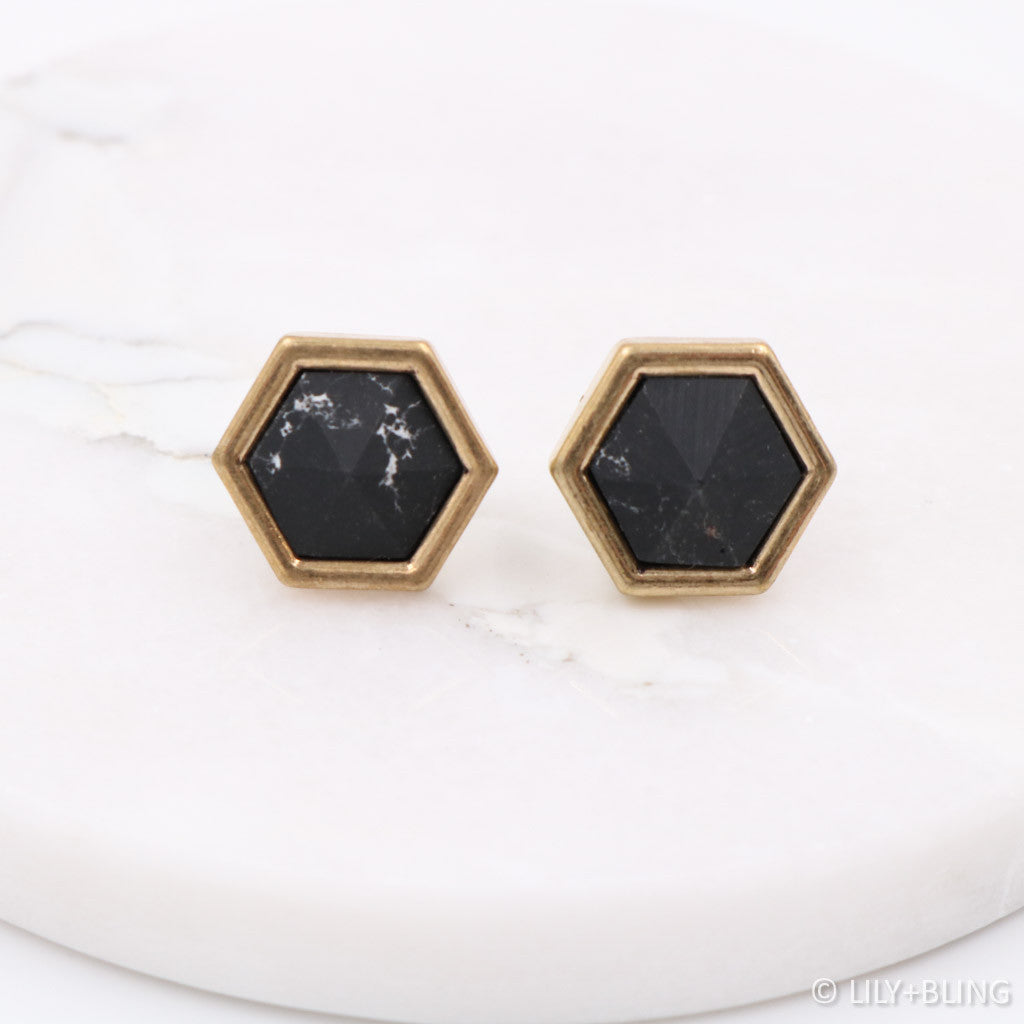 Marble En Pointe Earrings - Black/White