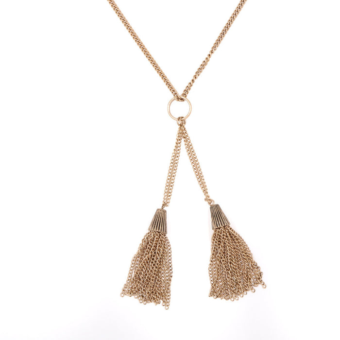 Roxanne Vintage Gold Tassels Necklace