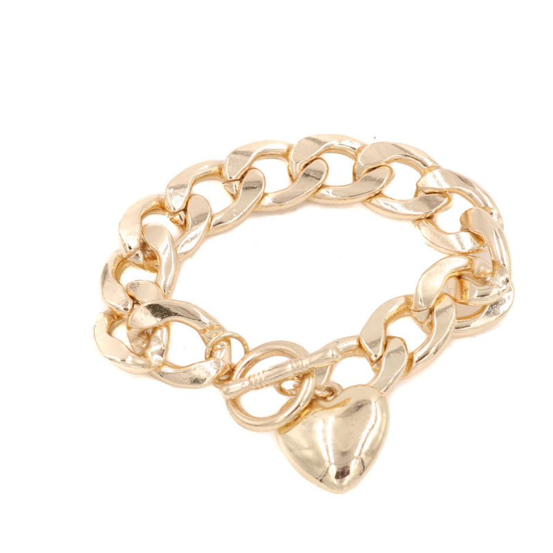 Sweetheart Gold Twist Charm Bracelet