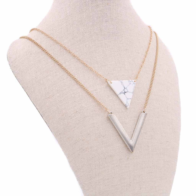 Triangle Minimalist Marble Layered Necklace - Silver/Gold (Restocked)