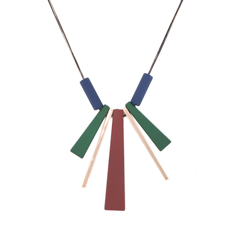Abeline Boardroom Necklace - Maroon/Green