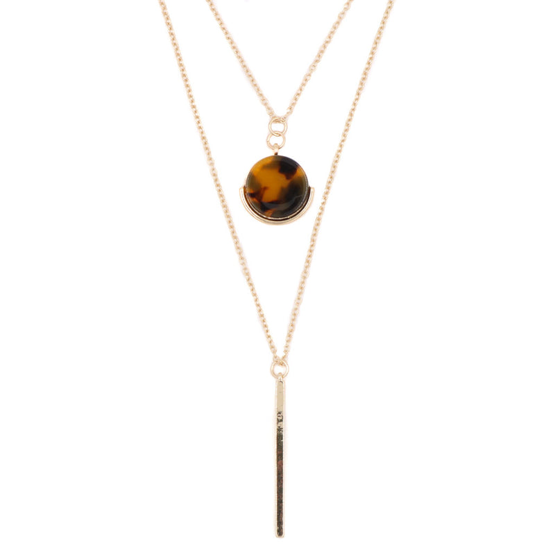 Amber Stone Layered Necklace - Restocked