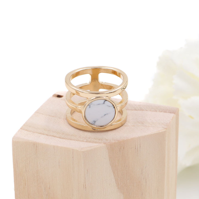 BACK IN STOCK: Minimalist Marble Ring - Round (Restocked)