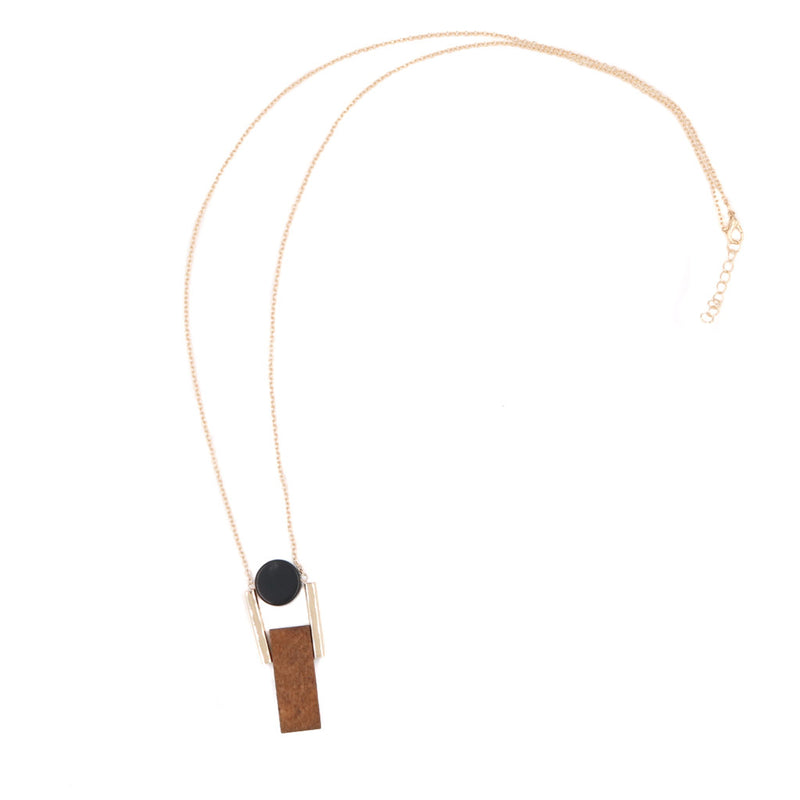Josie Geometric Necklace in Black, Wood & Gold