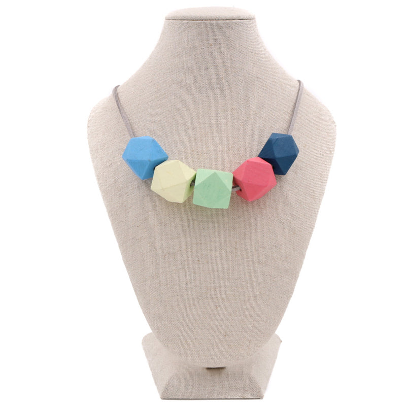 Handmade Colorpop Geometric Necklace II (#3) - Restocked