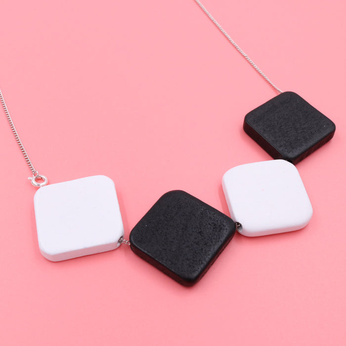 Handmade Monochrome Checkmate 3-Way Necklace - Restocked