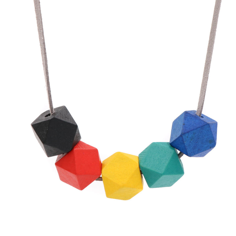 Handmade Colorpop Geometric Necklace II (#5) - Restocked