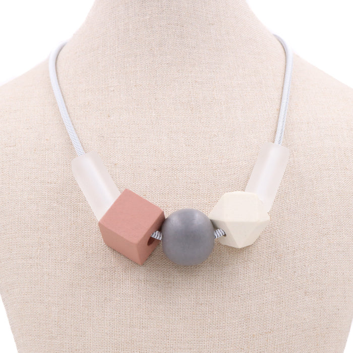 BACK IN STOCK: Hillary Geometric Necklace in Pink - Restocked