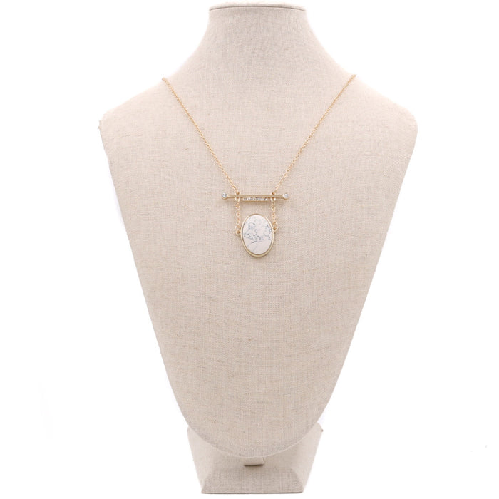 Simone Oval Bar Marble Necklace