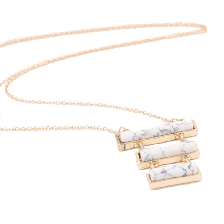 Odette Tri Marble Bar Minimalist Necklace - Blue/White (Restocked)