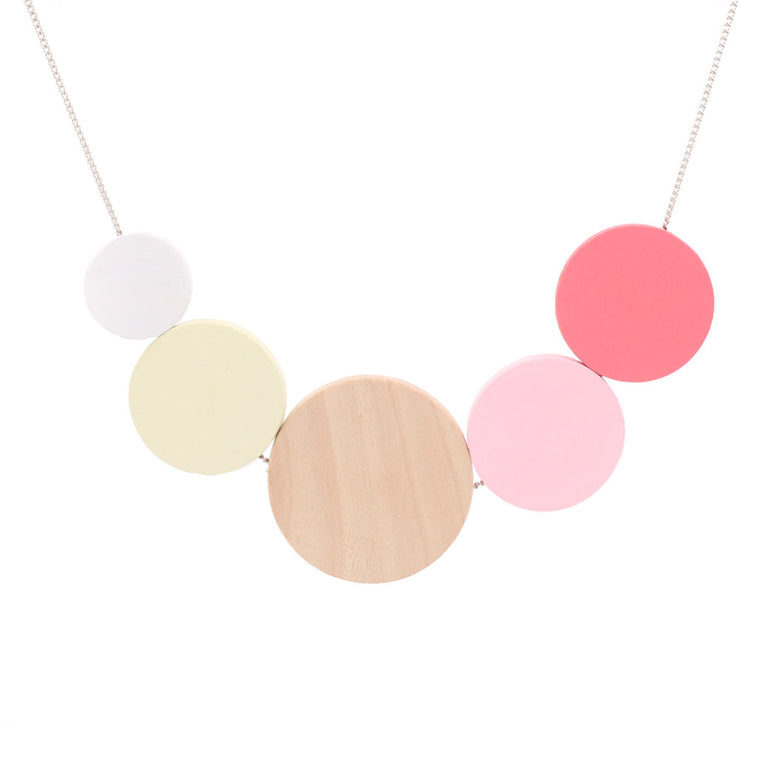 BACK IN STOCK: Handmade Ice Cream Pop Geometric Necklace in Raspberry Ripple - Restocked