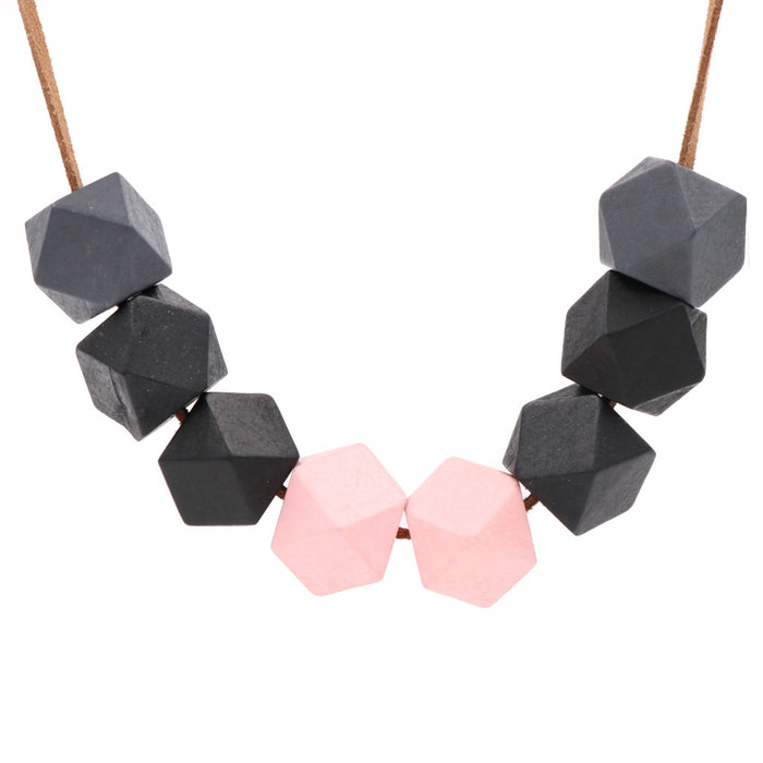 Handmade Modes Block Necklace in Black Pink - Restocked