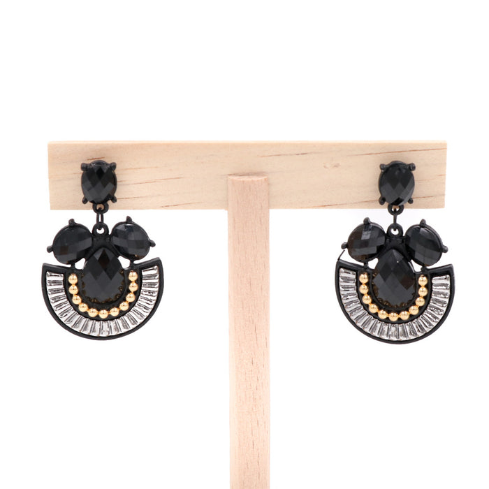 Oprah Earrings in Black & Gold