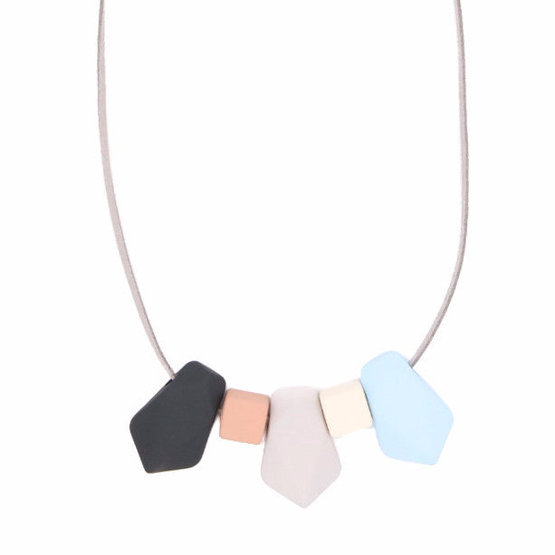 BACK IN STOCK: Handmade Toy Blocks Geometric Necklace in BBG - Restocked
