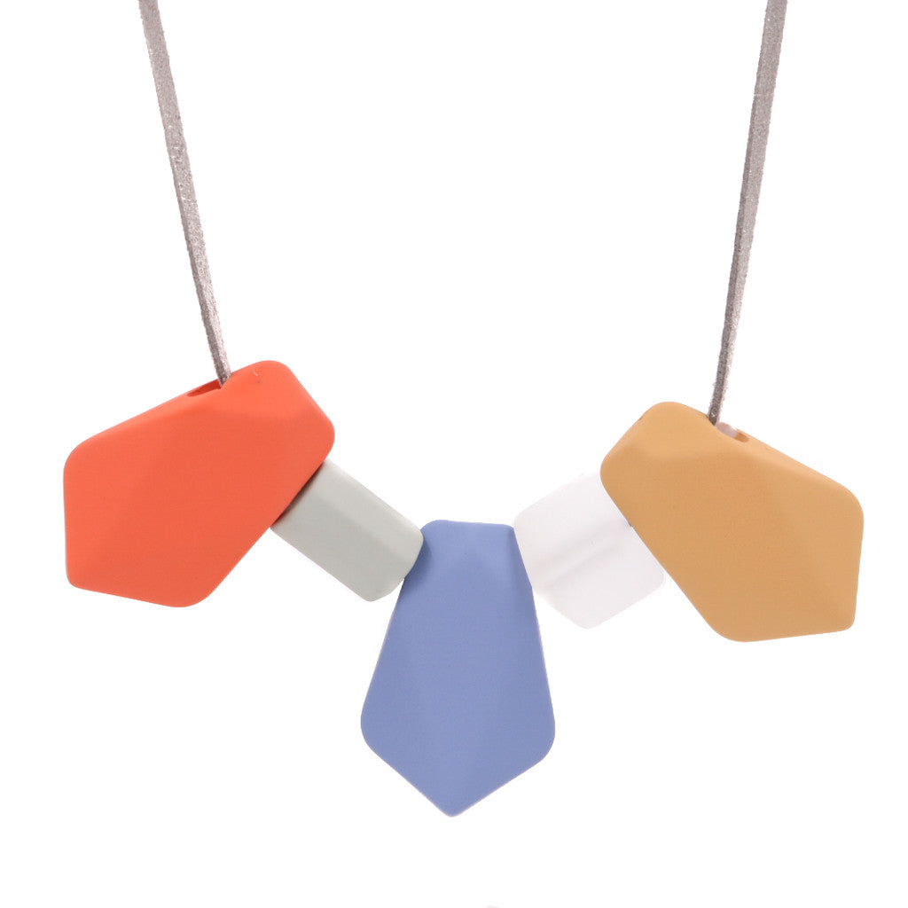 BACK IN STOCK: Handmade Toy Blocks Geometric Necklace in RBO - Restocked
