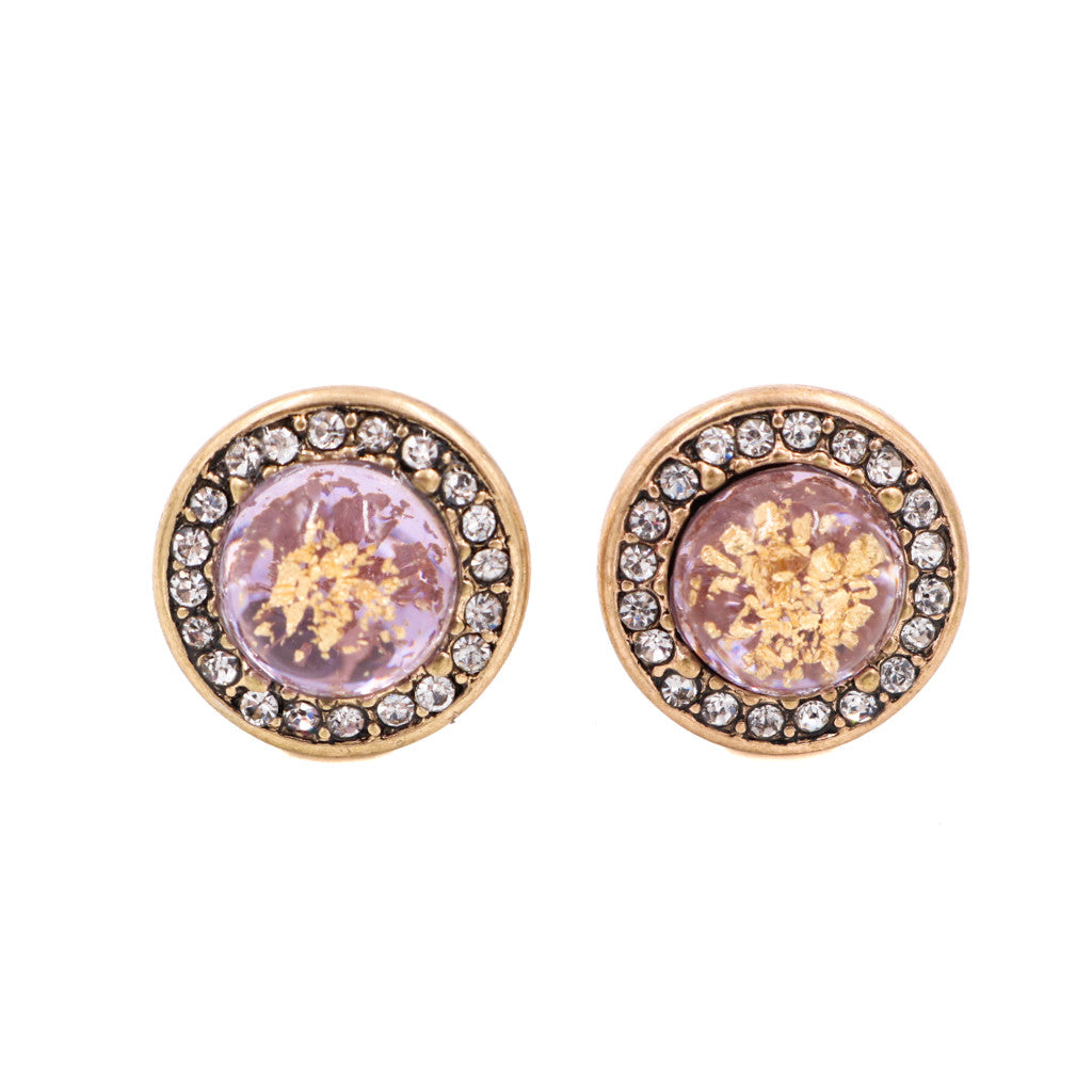 Sofia Gems Stud Earrings in Dusty Pink