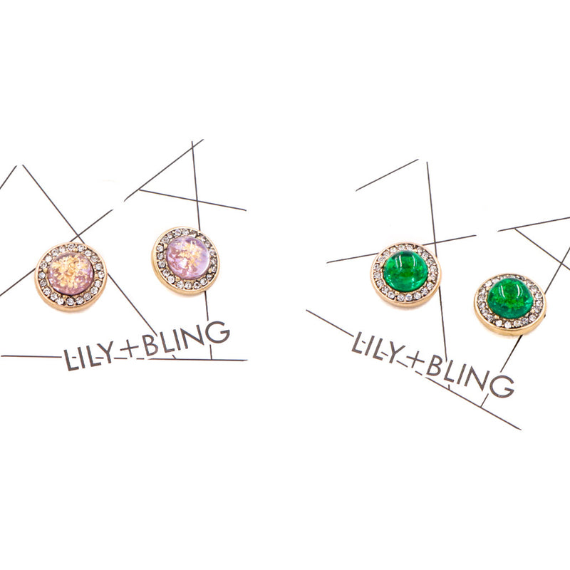 Sofia Gems Stud Earrings in Emerald Green (Restocked)