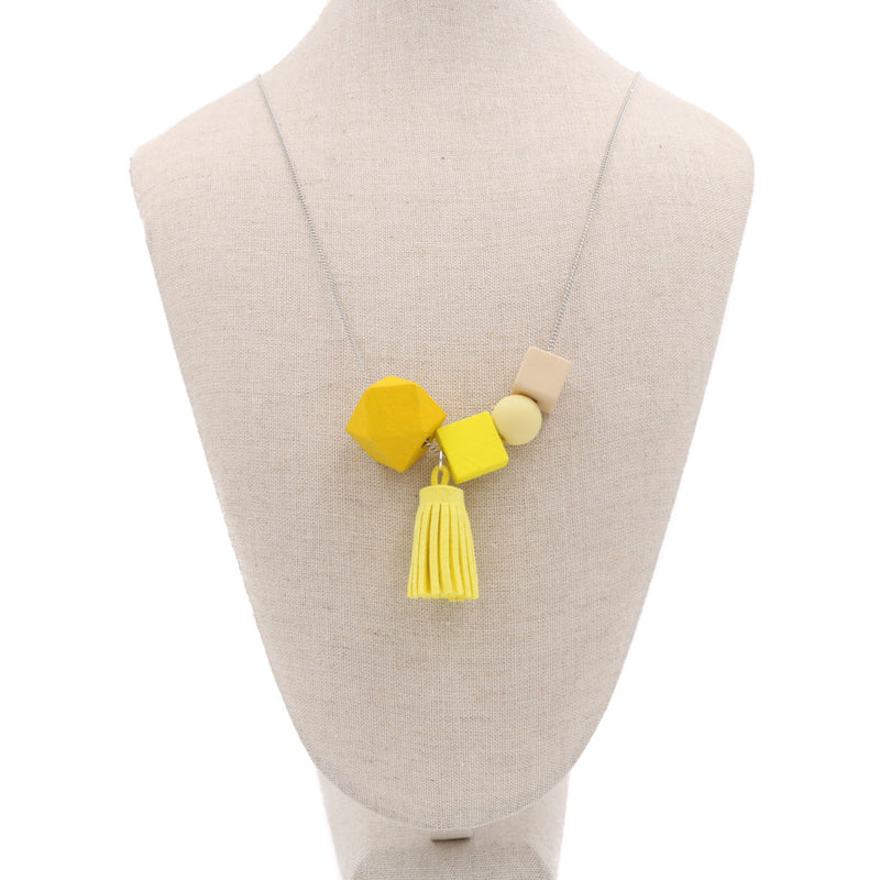Handmade Mixie Pop Necklace in Sunny Yellow