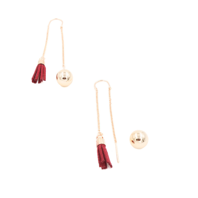 Shan Tassel Drop Earrings (Worn 2 Ways) in Maroon Suede