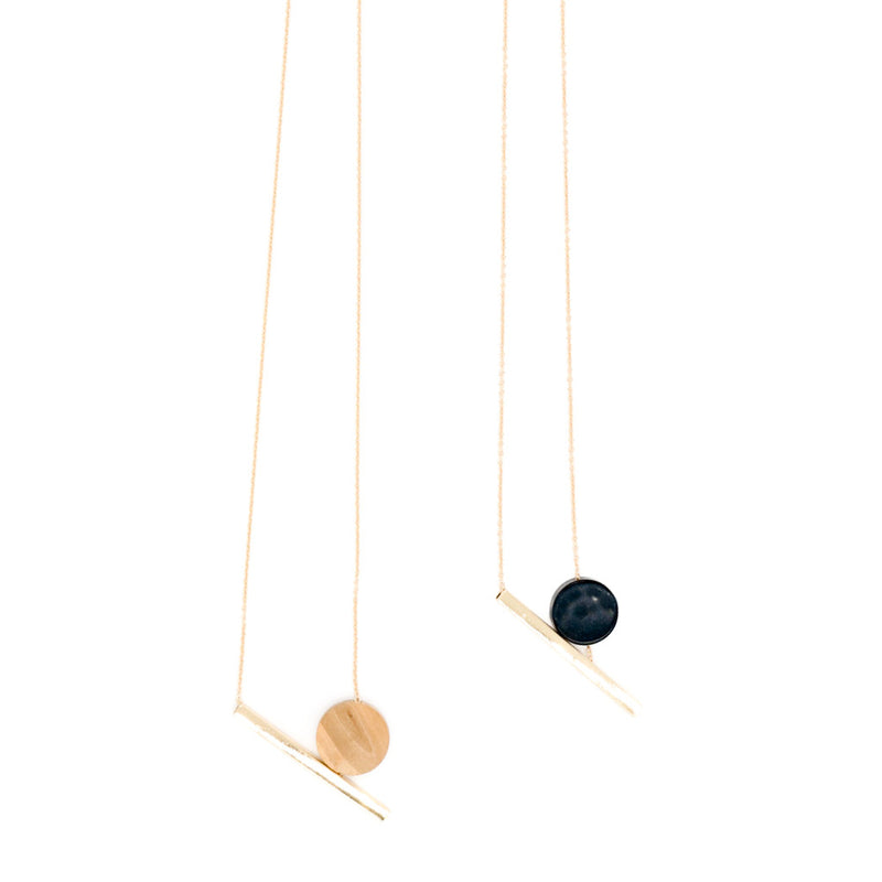 Lori Geometric II Necklace in Black & Gold