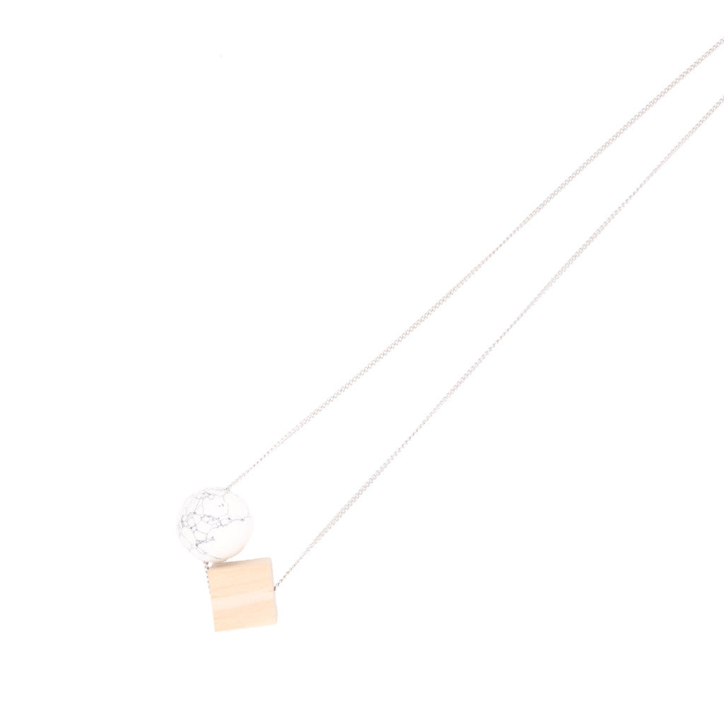 BACK IN STOCK: Georgia Marble & Wood Minimalist Necklace