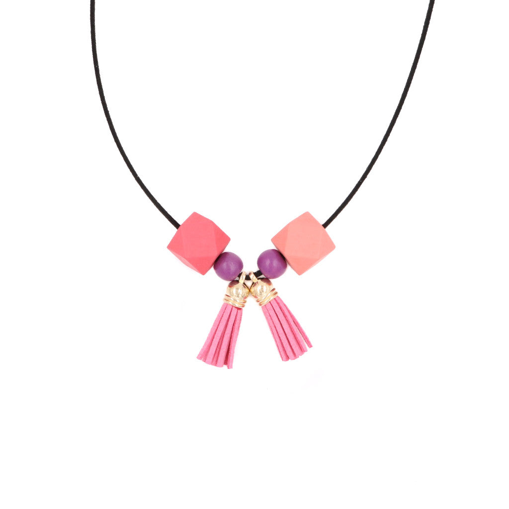 Handmade Ombre Tassels Necklace (#2) - Carefree Pink