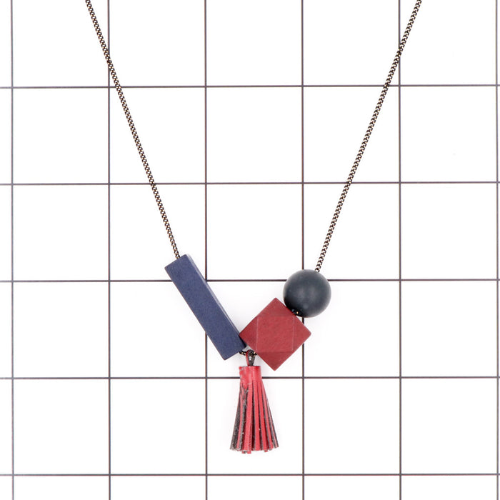Maxie Geometric Necklace in Primary Wine