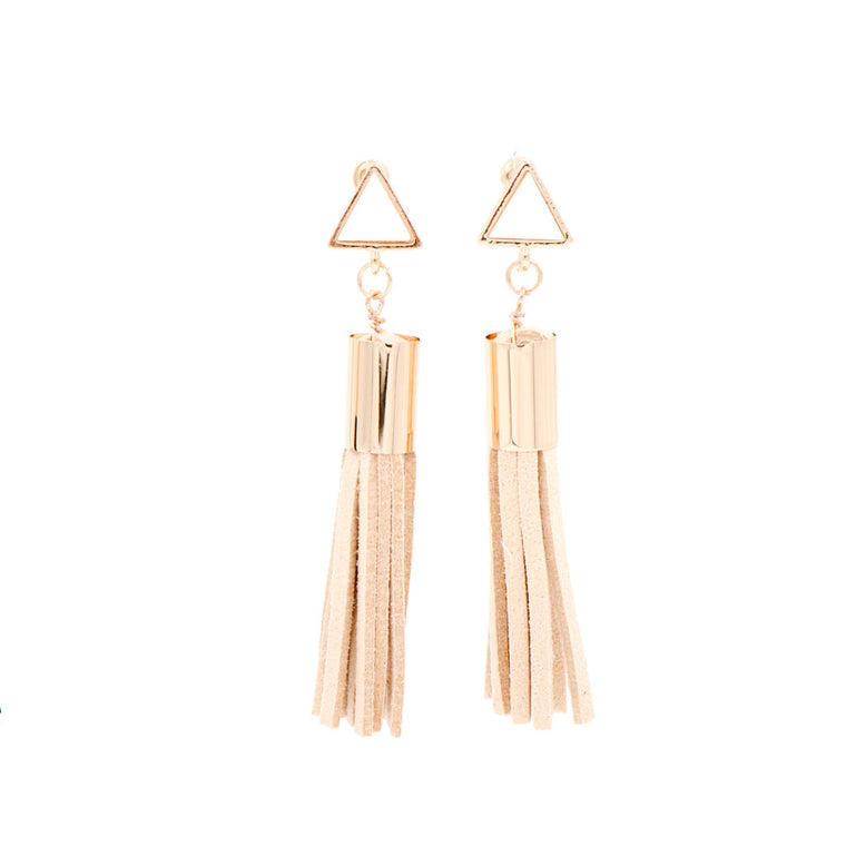 Lush Prism Tassel Earrings in Cream & Gold