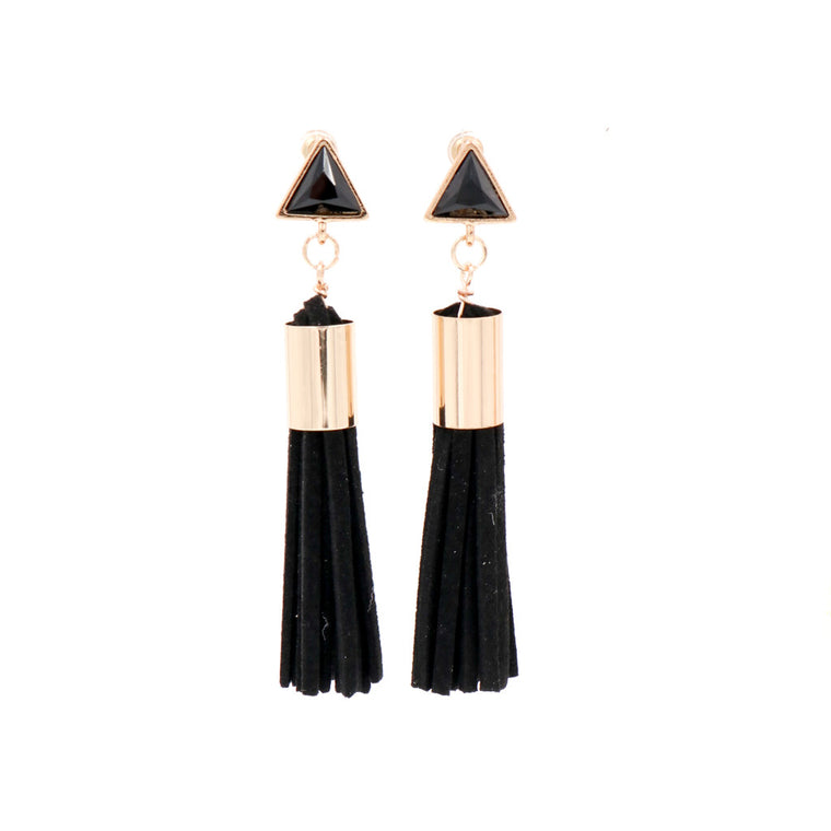 Lush Prism Tassel Earrings in Black & Gold